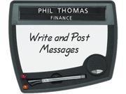 Quartet 25035 Tack & Write Nameplate, Dry-Erase, 10 1/2 x 9, Black/White, Black Frame