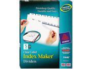 Avery AVE11446 Index Maker Clear Label Dividers, 5-Tab, Letter, White, 25 Sets