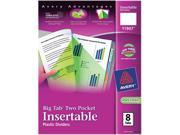 Avery 11907 WorkSaver Big Tab Plastic Dividers, Two Slash Pockets, 8-Tab, Assorted, 1 Pack