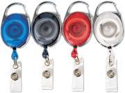 "Advantus 75552 Carabiner-Style Retractable ID Card Reel, 30"" Extension, Assorted Colors, 20/Pack, 1 Pack"