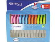 "Westcott Kids Ultra Soft Handle Scissors, 5"" Length, 2"" Cut, Blunt Tip, Assorted, 12/Pack"