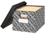 Bankers Box 0022705 - STOR/FILE Decorative Medium-Duty Storage Boxes, Letter, Black/White Brocade
