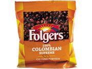Folgers 84969584 100% Colombian Pouch Coffee - Regular - Dark/Bold - Ground - 42 / Carton