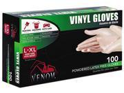 Medline Industries VEN4135 Venom Powdered Vinyl Multi-Purpose Disposable Gloves, One-Size