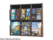 Expose Adj Magazine/Pamphlet 6-Pocket Display, 29-3/4 x 2-1/2 x 26-1/4, Mahogany