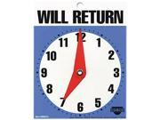 "COSCO 098010 Will Return Later Sign, 5"" x 6"", Blue"