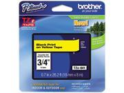 "Brother 18mm (3/4"") Black on Yellow Laminated Tape (8m/26.2') (1/Pkg)"
