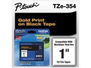"Brother 24mm (1"") Gold on Black Laminated Tape (8m/26.2') (1/Pkg)"