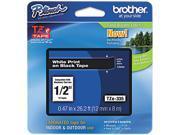 Brother TZE335 TZe Standard Adhesive Laminated Labeling Tape, 1/2w, White on Black