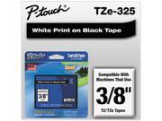 Brother TZE325 TZe Standard Adhesive Laminated Labeling Tape, 3/8w, White on Black