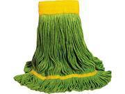 UNISAN 1200M EcoMop Looped-End Mop Head, Recycled Fibers, Medium Size, Green
