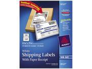 """Avery White Shipping Labels With Paper Receipt for Inkjet Printers, 5 1/16"""" x 7 5/8"""" (1 Label/Sheet) (25 Sheets/Pkg)"""