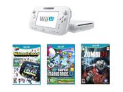 Nintendo Wii U 8GB Nintendoland, New Super Mario Bros Wii U and ZombiU Bundle White