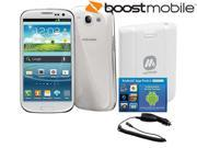 Samsung Galaxy S3 (Boost Mobile) White 4G LTE Android Smart Phone Bundle with MyCharge Voyage 1000mAh, Avanquest App Pack & hypercel Car Charger