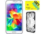 Samsung Galaxy S5 Shimmering White 3G Quad-Core 2.5GHz Unlocked GSM Phone + UAG Ice Case + H2O SIM Card