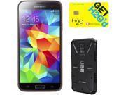 Samsung Galaxy S5 Copper Gold 3G Quad-Core 2.5GHz Unlocked GSM Phone + UAG Black Case + H2O SIM Card