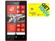 Nokia Lumia 520 RM-915 Black/Red 8GB Windows 8 OS Phone + H2O $30 SIM Card