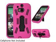 GearIT Magenta Rugged High Impact Hybrid Armor Case Cover Stand for HTC One M8 GHTCM8HYBIPMA
