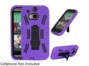 GearIT Purple Rugged High Impact Hybrid Armor Case Cover Stand for HTC One M8 GHTCM8HYBIPPR