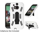 GearIT White Rugged High Impact Hybrid Armor Case Cover Stand for HTC One M8 GHTCM8HYBIPWH
