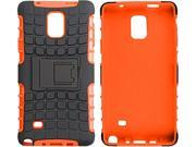 rooCASE Orange Heavy Duty Armor Hybrid Rugged Stand Case for Galaxy Note 4 RCNOTE4HYBD9OR