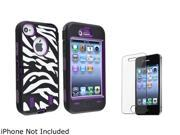 Insten Purple /Black White Zebra Hybrid Case with Reusable Screen Protector Shield Guard Cover Compatible with iPhone 4/4s 1331831