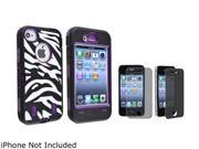 Insten Purple /Black White Zebra Hybrid Case with Privacy Screen Cover Compatible with iPhone 4/4s 1331834