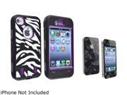 Insten Purple /Black White Zebra Hybrid Case with 3D Diamond Blink Screen Protector Shield Guard Cover Compatible with iPhone 4/4s 1331836