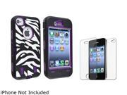 Insten Purple /Black White Zebra Hybrid Case with 2 LCD Kit Reusable Screen Protector Shield Guard Cover Compatible with iPhone 4/4s 1331837