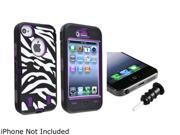 Insten Purple /Black White Zebra Hybrid Case with Black Headset Dust Cap Compatible with iPhone 4/4s 1331842