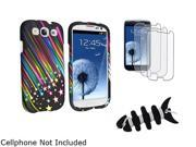 Insten Black Headset Smart Wrap, Black Fishbone + Rainbow Star Snap-on Rubber Coated Case + 3-Pack Anti-Glare Screen Protector Compatible With Samsung Galaxy SIII/S3