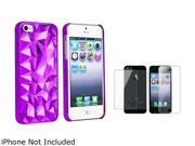 Insten Clear Purple Diamond Cut Clip-on Case + Front & Back LCD Cover Compatible With Apple iPhone 5 / 5s 831790