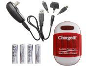 PC Treasures Red ChargeIt! Portable Power Pack for Charging Mobile Devices 08856