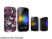 Insten Purple Flower & Pink Butterfly Rubber Coated Case And Privacy Screen Protector for Samsung Galaxy Nexus CDMA SCH-i515 / Galaxy Nexus GSM i9250 683516