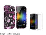Insten Purple Flower & Pink Butterfly Rubber Coated Case with Anti-Glare LCD Cover for Samsung Galaxy Nexus CDMA SCH-i515 / Galaxy Nexus GSM i9250 683514