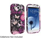 Insten Pink Butterfly Snap-on Rubber Coated Case for Samsung Galaxy S3 719433