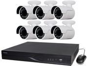 LaView 4MP IP Security System 6 Cameras 16 Channel NVR with 4K Output H.265 Codec, 6 x Full HD 4MP Bullet Day / Night In / Outdoor Weather Proof Cameras (No HDD