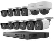 LaView 4MP 2688 x 1520P Full PoE IP Camera Security System, 16-channel H.265 NVR w/ 4K Output, 10 x 4MP Bullet and 2 x 4MP Dome Full HD In / Outdoor IP Cameras
