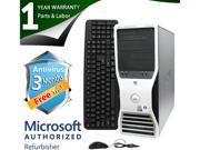 DELL Desktop Computer T3400 Core 2 Quad Q6600 (2.40 GHz) 4 GB DDR2 1 TB HDD NVIDIA NVS 285 Windows 7 Professional 64-Bit