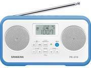 Sangean AM FM Stereo Portable Radio White Blue PR D19BU