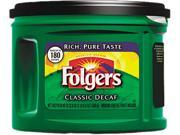 Folgers 00374CT Ground Coffee, Classic Roast Decaffeinated, Ground, 22.6 oz., Can, 6/Carton