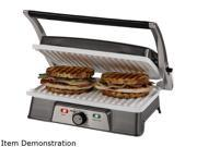 OSTER DuraCeramic 2 Serving Panini Maker & Grill, with Metal Accents CKSTPM21WC-ECO