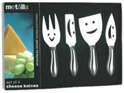 Prodyne  K-4-F  Set of 4 SS Cheese Knives Happy Faces
