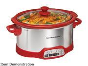 Hamilton Beach  33456  Red  5 Qt.  5 Quart Programmable Slow Cooker