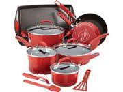 Rachael Ray  14626  Hard Enamel Nonstick 14-Piece Cookware Set  Red