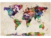 Trademark Fine Art Michael Tompsett 'Urban Watercolor World Map' Canvas Art