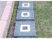 Homebrite Polyresin Garden Landscape Solar Lighted Stepping Stones, 30840, Square, Green, Set of 3