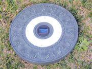 Homebrite Polyresin Garden Landscape Solar Lighted Stepping Stones, 30844, Round, Set of 3, Green