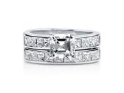 Asscher Cut CZ 925 Silver 2-Pc Solitaire Bridal Ring Set 1.59 Ct Women's Jewelry