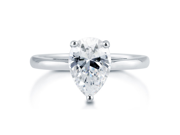 Pear Cut Cubic Zirconia CZ 925 Sterling Silver Solitaire Ring 1.8 Ct Women's Jewelry